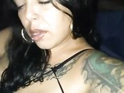 Latina woman with big lips sucking cock and swallowing the sperm of thug