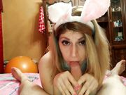Bunny wife does a nice blowjob in bed